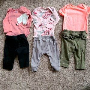 3 Baby Girl 0-3 Month Matching outfits bundle